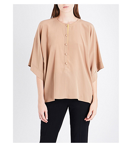 GIVENCHY Boxy silk-crepe shirt (Beige/yellow