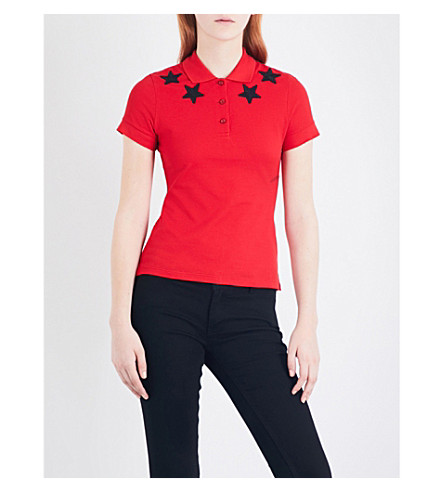 GIVENCHY Star-embroidered cotton-piqué polo top (Red/black+stars