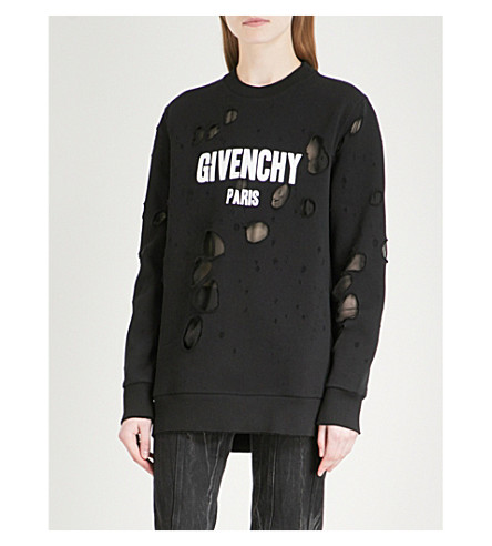 GIVENCHY Distressed logo-print cotton-jersey sweatshirt (Black