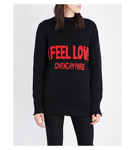 GIVENCHY I Feel Love cotton jumper (Black+/+red+writing