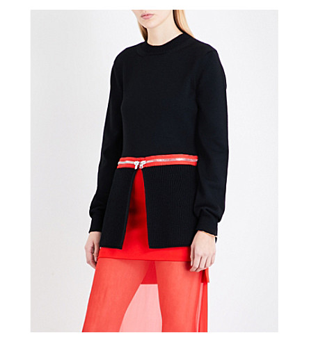 GIVENCHY Zip-waist waffle-knit wool-blend jumper (Black