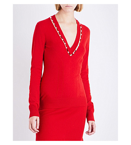 GIVENCHY Faux pearl-embellished V-neck knitted jumper (Red