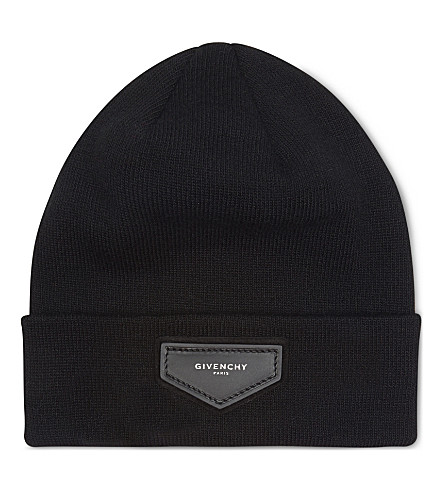 GIVENCHY Leather logo beanie (Black