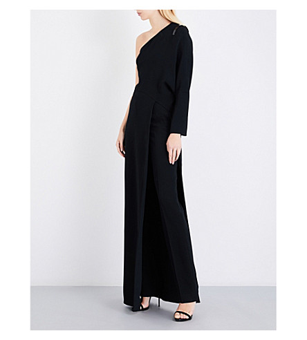 GIVENCHY Asymmetric one-shoulder woven gown (Black