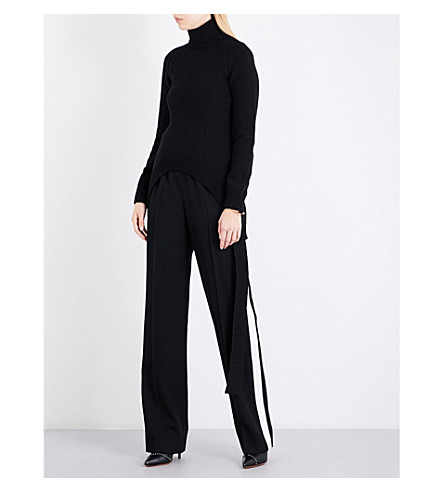 GIVENCHY Turtleneck waffle-knit wool-blend jumper (Black