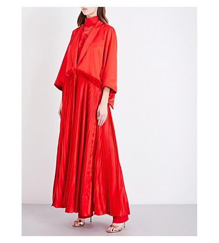 GIVENCHY Pleated ruffled silk-satin coat (Red