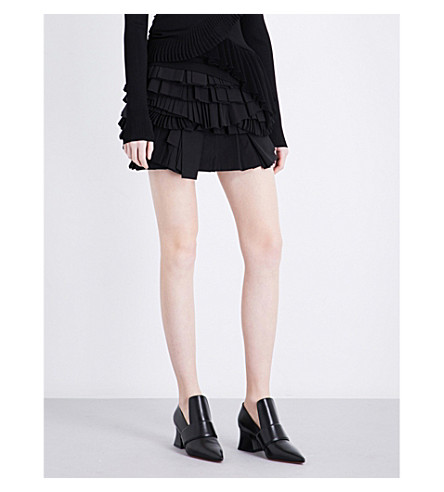 GIVENCHY Ruffle-tiered mid-rise cotton mini skirt (Black