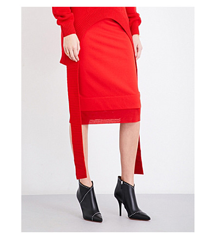 GIVENCHY Satin-trim high-rise fitted midi skirt (Red