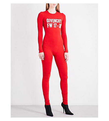 GIVENCHY Logo-print woven jumpsuit (Red