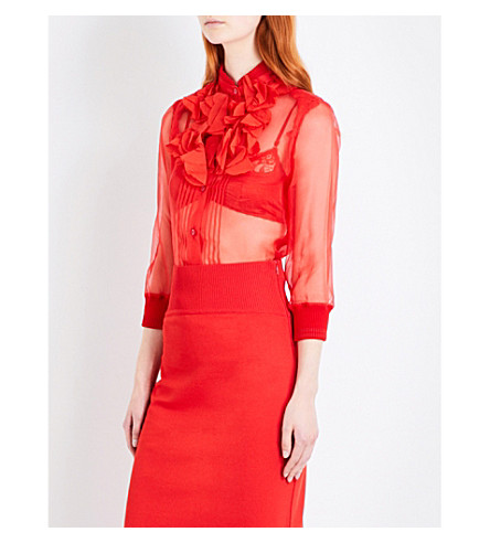 GIVENCHY Ruffled silk-chiffon shirt (Red