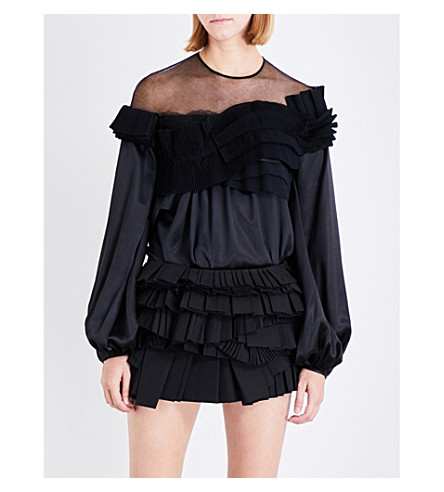 GIVENCHY Ruffle-trim silk-satin blouse (Black