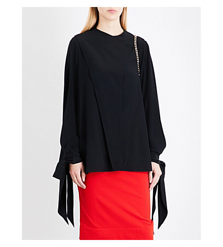 GIVENCHY Asymmetric silk shirt (Black