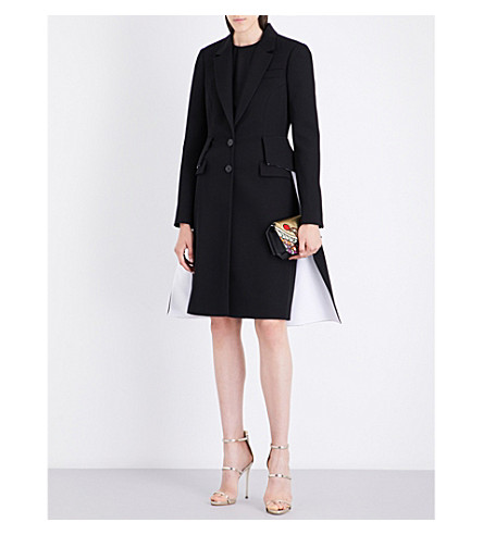 GIVENCHY Flared contrast-panelled wool coat (Black/white
