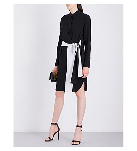 GIVENCHY Contrast panelled silk shirt dress (Black/white