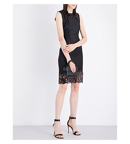 GIVENCHY Lace-detailed wool dress (Black