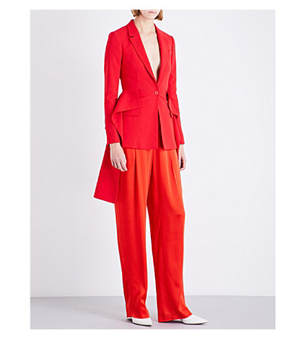 GIVENCHY Peplum silk-breasted stretch-crepe jacket (Red