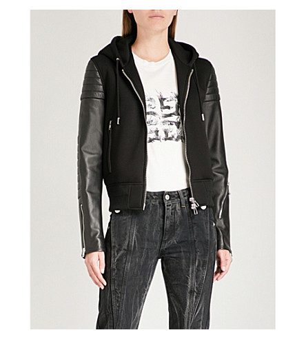 and Leather GIVENCHY GIVENCHY Leather hooded shell Black jacket bomber tRwqOwznW6