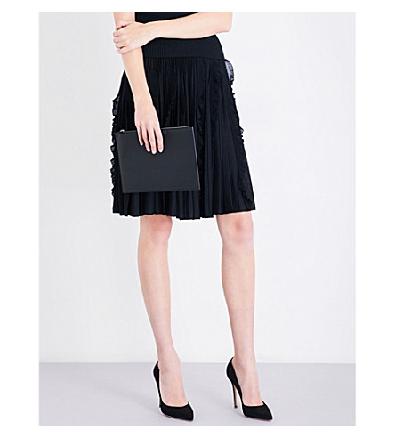 GIVENCHY Pleated high-rise knitted skirt (Black