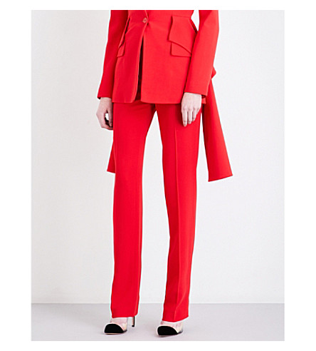 GIVENCHY Straight cropped stretch-crepe trousers (Red