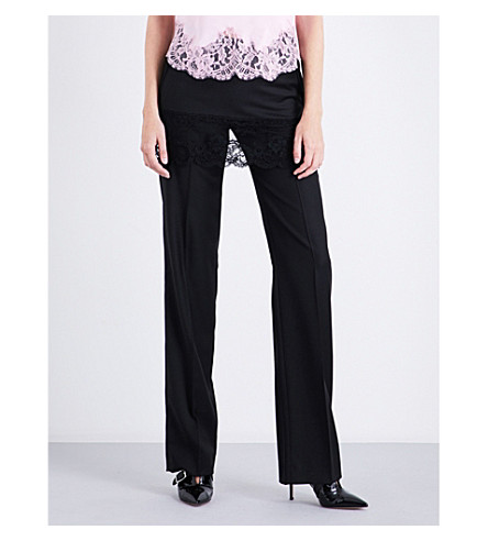 GIVENCHY Floral lace-trim straight wool trousers (Black