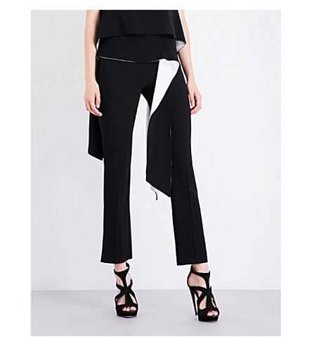 GIVENCHY Contrast-panel straight high-rise crepe trousers (Black/white