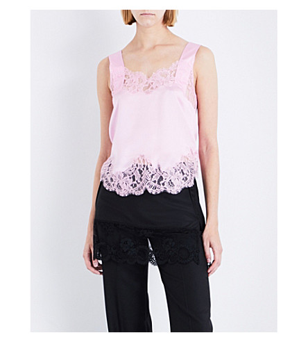GIVENCHY Floral-lace and silk-satin camisole (Bright+baby+pink