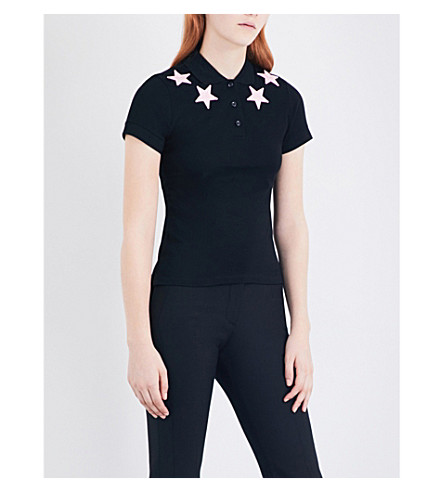 GIVENCHY Star-embroidered cotton-piqué polo top (Black/pink+stars