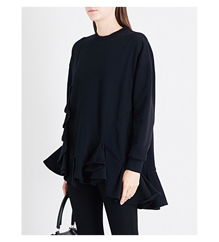 GIVENCHY Ruffled oversized cotton-jersey sweatshirt (Black