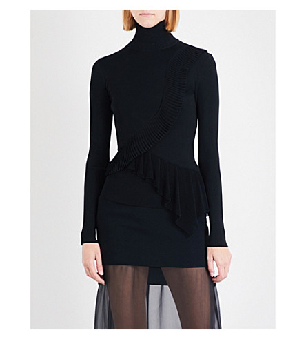 GIVENCHY High-neck ruffled knitted jumper (Black
