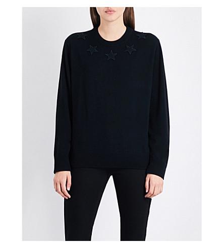 GIVENCHY Star appliqué wool jumper (Black