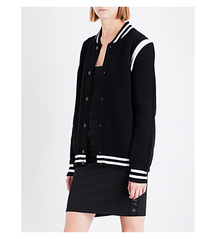 GIVENCHY Logo-embroidered knitted wool-blend jacket (Black