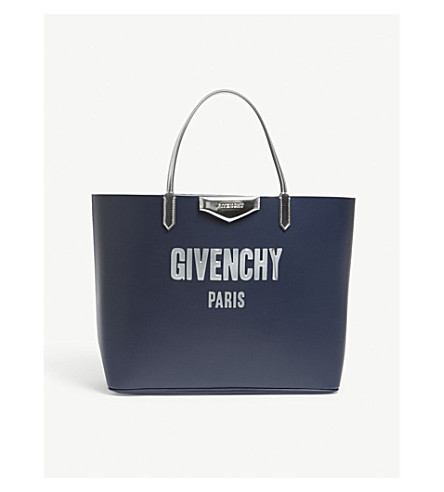 GIVENCHY Antigona logo leather tote (Night+blue