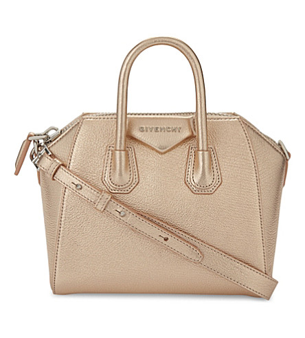 GIVENCHY Antigona mini metallic leather shoulder bag (Gold
