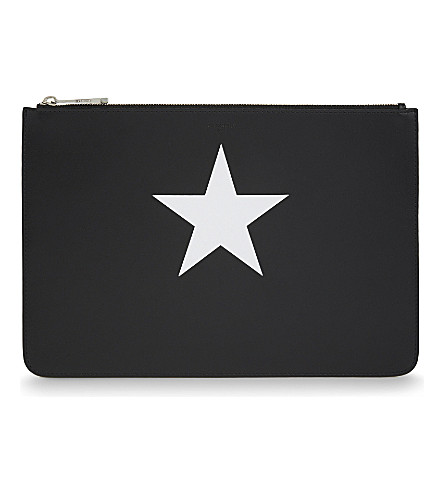 GIVENCHY Star leather pouch (Blk+white