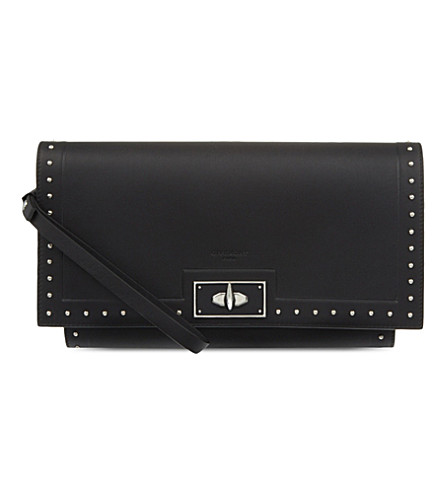 GIVENCHY Shark stud leather clutch (Black
