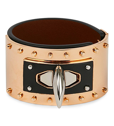 GIVENCHY Shark tooth leather bracelet (Blk/copper