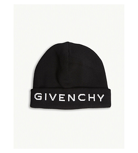 GIVENCHY Logo knitted cotton and cashmere beanie (Black