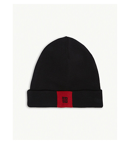 GIVENCHY Logo wool beanie (Black/red