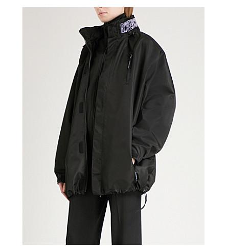 GIVENCHY Logo-embroidered shell windbreaker coat (Black