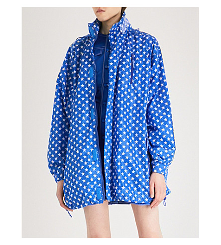GIVENCHY Star-print hooded shell jacket (Electric+blue