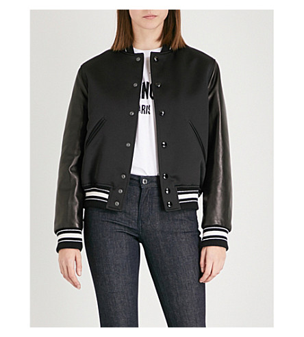 GIVENCHY Leather-sleeve satin bomber jacket (Black