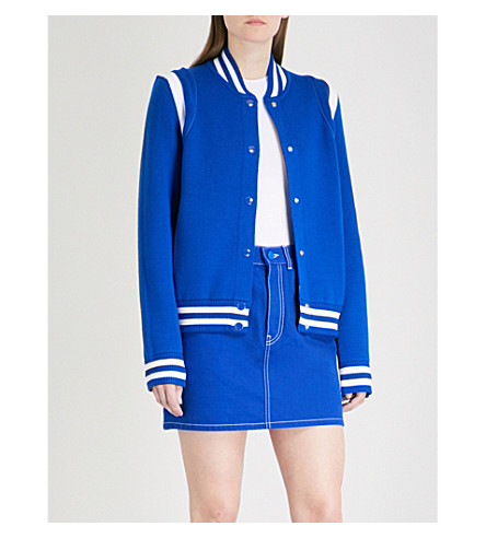 GIVENCHY Logo-embroidered wool-blend bomber jacket (Electric+blue