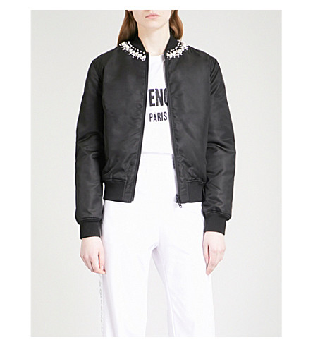 GIVENCHY Faux-pearl embellished shell bomber jacket (Black