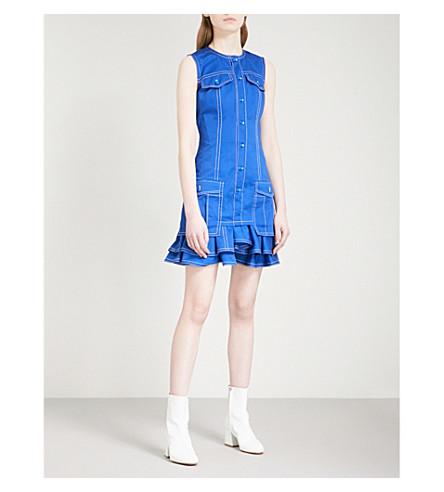 GIVENCHY Ruffled-hem sleeveless denim dress (Electric+blue