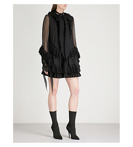 GIVENCHY Ruffled cotton and silk dress (Black