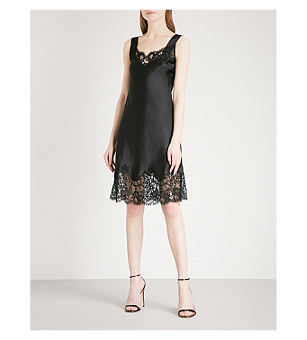 GIVENCHY Lace-detail sweetheart silk dress (Black