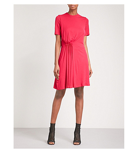 GIVENCHY Ruched woven dress (Fuchsia