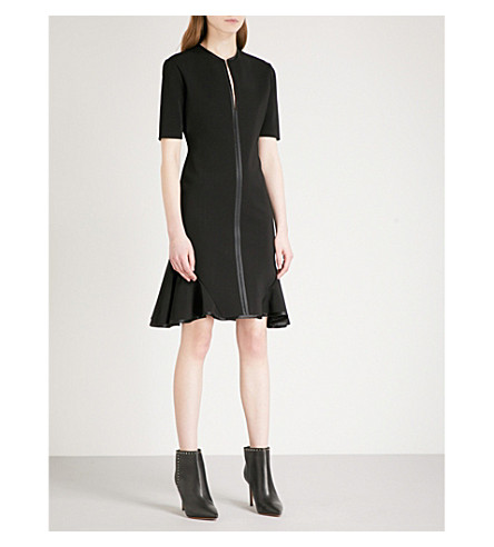 GIVENCHY Flared-hem fitted woven dress (Black
