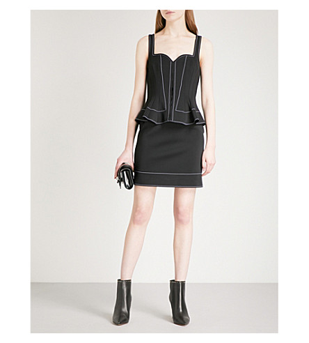 GIVENCHY Peplum-hem sleeveless neoprene mini dress (Black