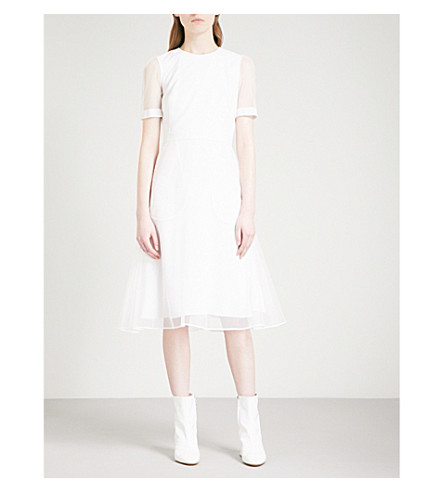 GIVENCHY Anna Winter fit-and-flare mesh dress (White